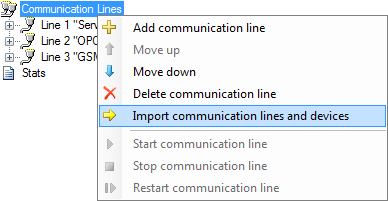 Communication lines context menu